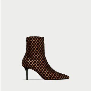 Zara high heeled mesh ankle boots